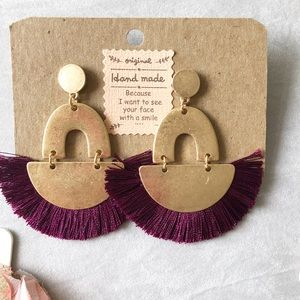 Jewelry - Handmade burgundy statement earrings.